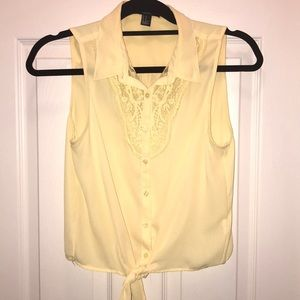 Forever 21 yellow button up blouse